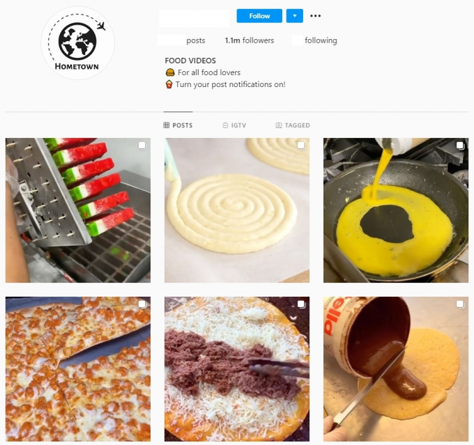 1 million followers Food Instagram Account for Sale