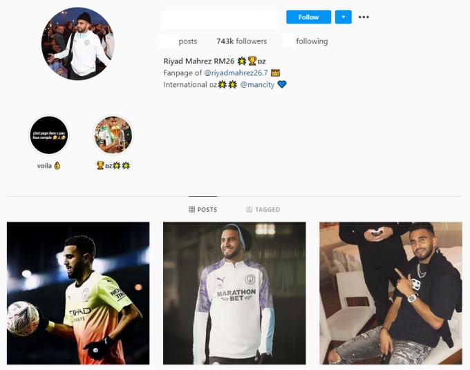 700K Riyad Mahrez Fan Football Instagram Account