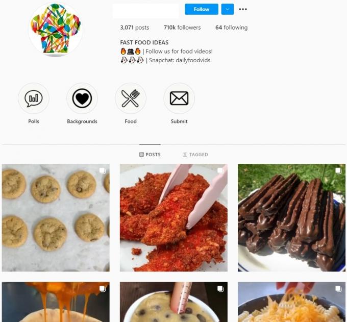 710K Food Instagram Account for Sale