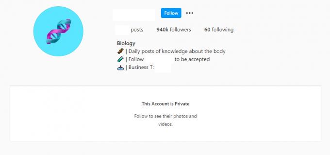 950K Biology Science Instagram Account for Sale