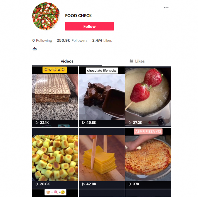 250K Food TikTok Account for Sale
