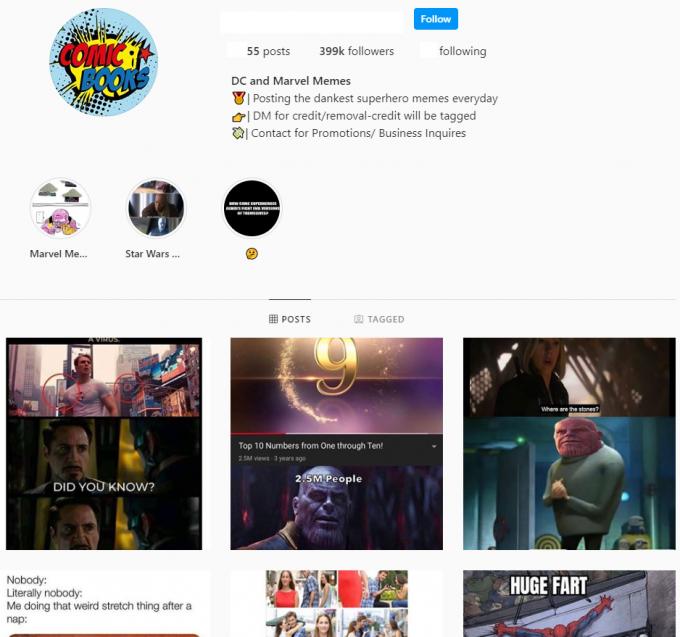 400K Comics Books Memes Instagram Account for Sale
