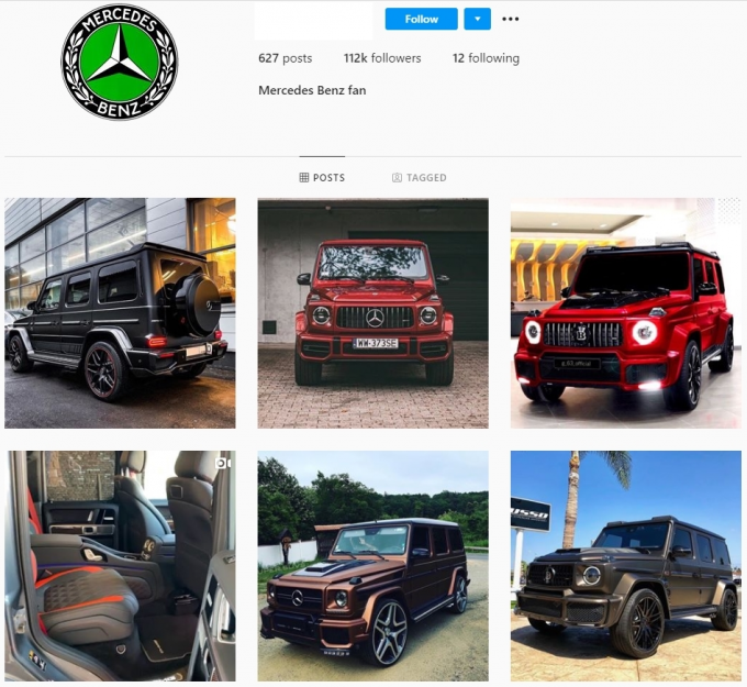 110K Mercedes G63 Luxury Instagram Account for Sale