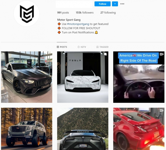 150K Cars Instagram Account for Sale