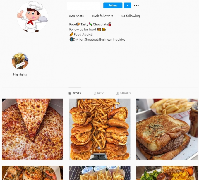 160K Food Instagram Account for Sale
