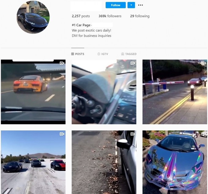 370K Exotics Cars Instagram Account for Sale