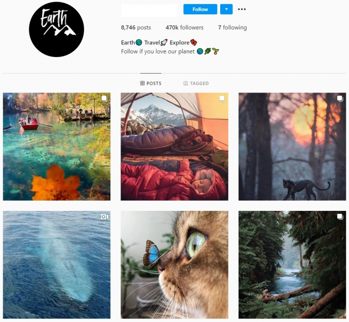 470K Earth Travel Instagram Account for Sale