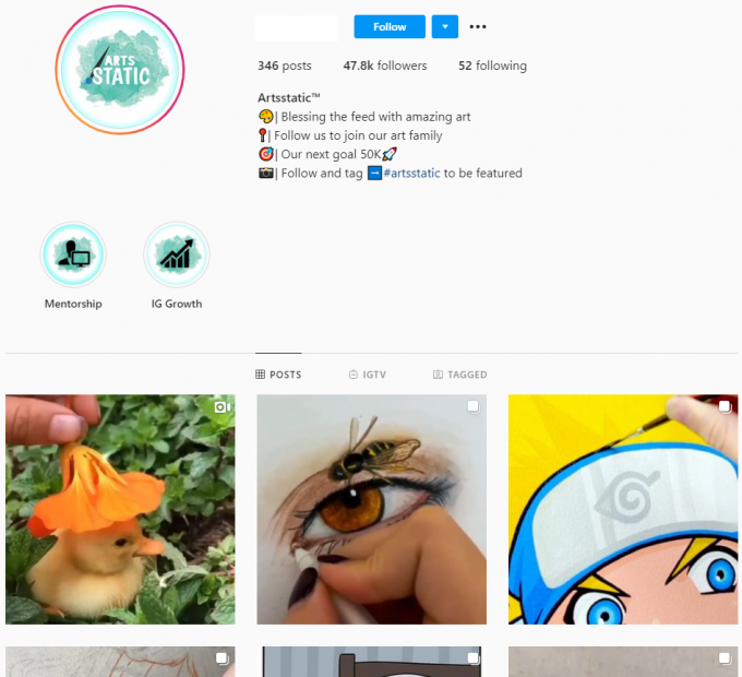 47K Art Instagram Account for Sale