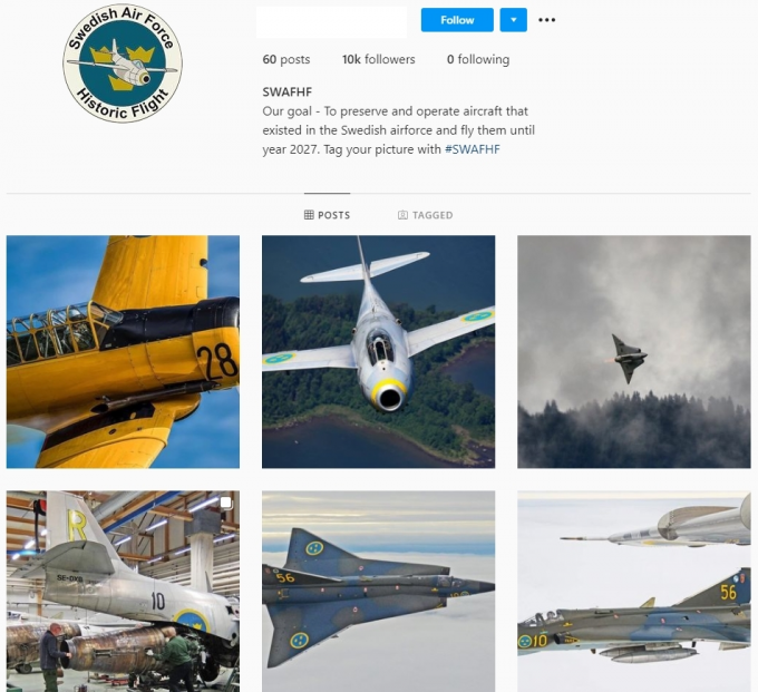 10K Swedish Airplanes Aviation Instagram Account for Sale