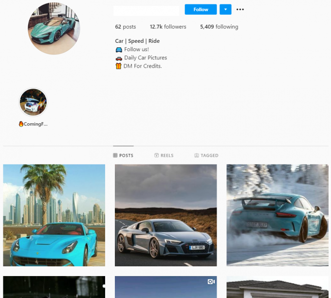 12.7K Cars Instagram Account for Sale