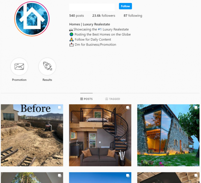 23K Luxury Homes Instagram Account for Sale