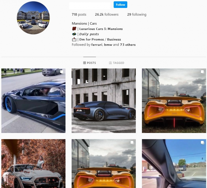 26K Luxury Cars Instagram account for Sale