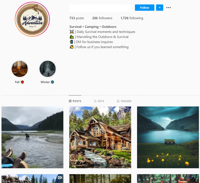 26K Survival Camping Outdoor Instagram Account for Sale