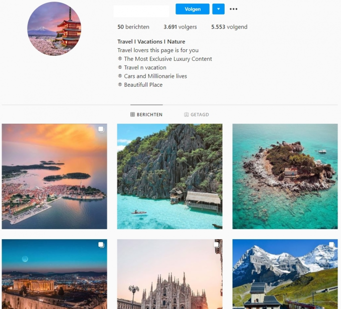 3.6K Travel Vacations Instagram Account for Sale