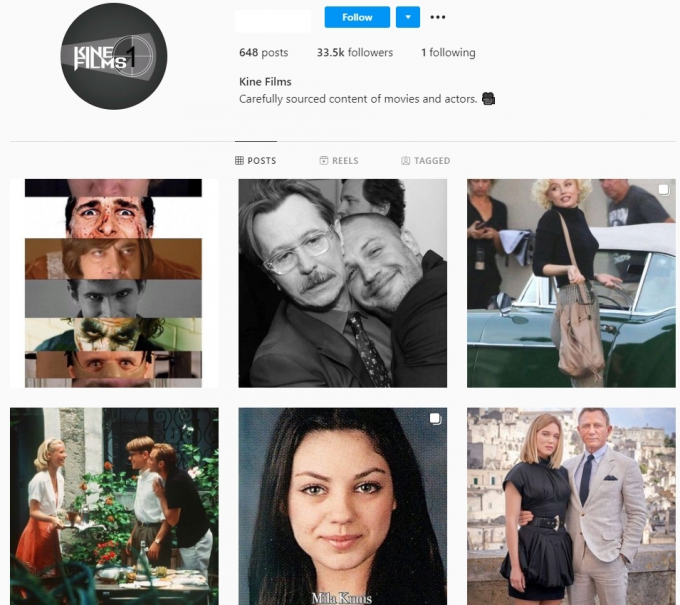 30K Films Movies Instagram Account for Sale