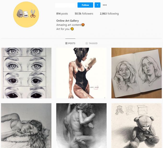 50K Art Drawings Instagram Account for Sale