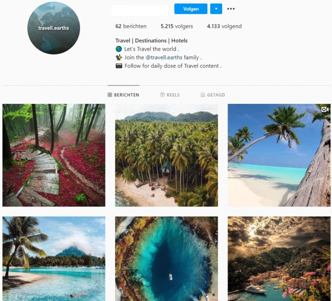 5K Travel Instagram Account for Sale