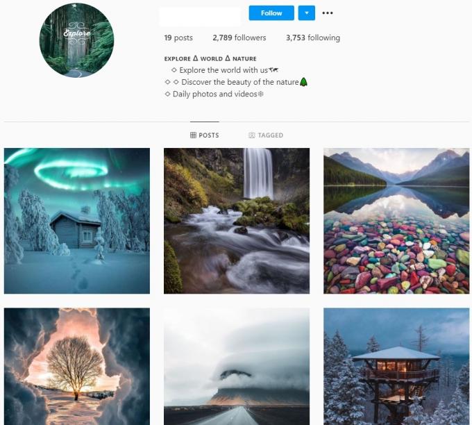 2K Explore World Nature Instagram Account for Sale