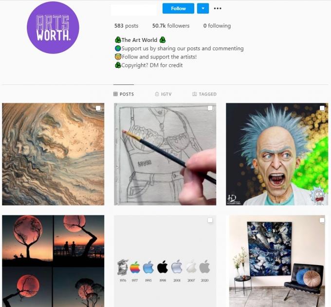 50K Art World Instagram Account for Sale