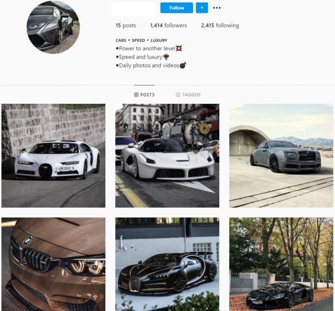 1k Luxury Cars Instagram Account for Sale