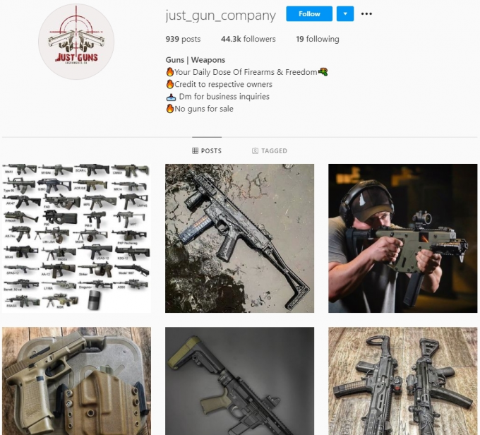 44k Guns Weapons Instagram Account for Sale