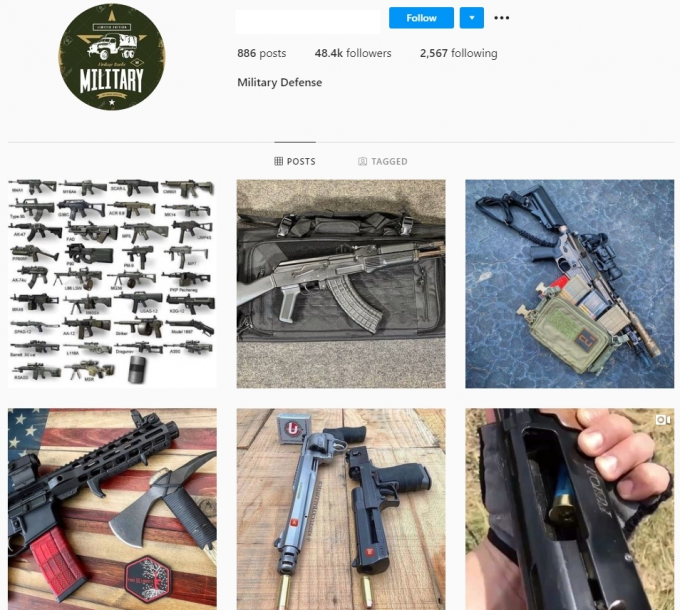 48K Military Defense Weapons Instagram Account for Sale