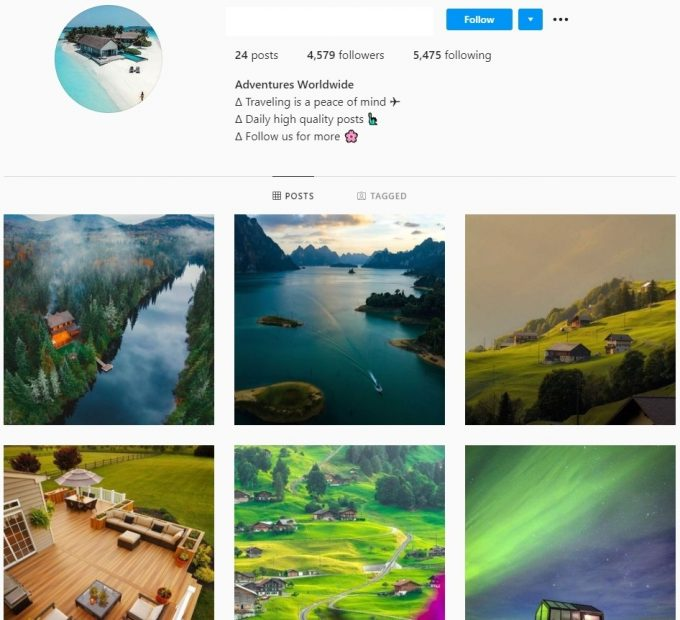 4k Nature Travel Instagram Account for Sale