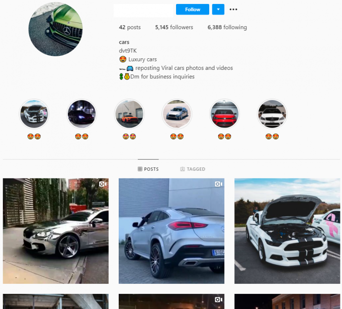 5K Luxury Cars Instagram Account for Sale