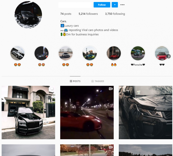 5k Cars Instagram Account for Sale