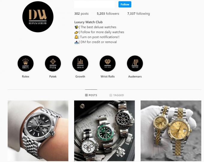 5k Luxury Watch Instagram Account for Sale