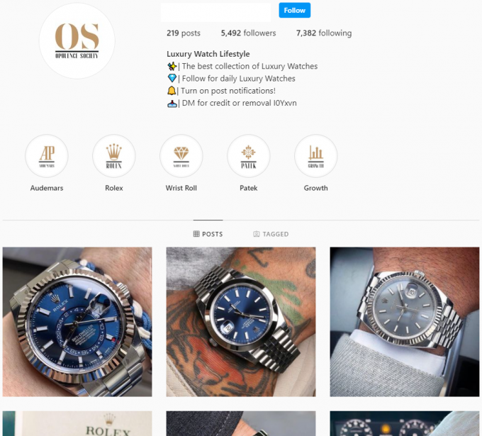 5k Luxury Watches Instagram Account for Sale
