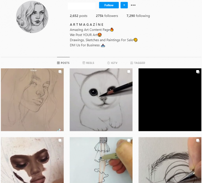 275K Art Sketches Instagram Account for Sale