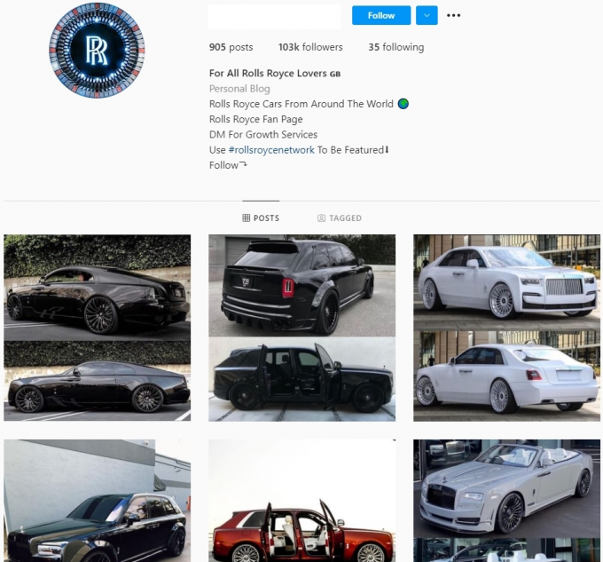 100K Rolls-Royce Luxury Cars Instagram Account for Sale