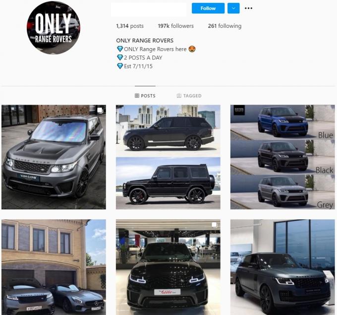 190k Range Rover Car Instagram Account for Sale