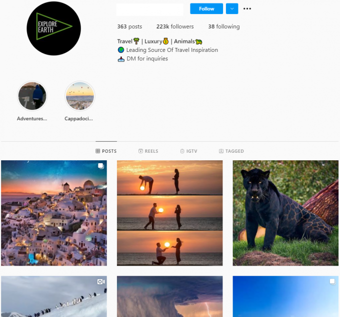 220K Travel Nature Instagram Account for Sale