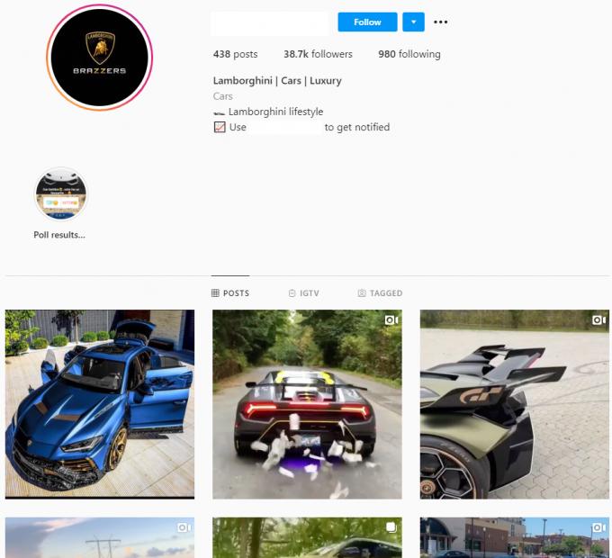 38K Lamborghini Cars Instagram Account for Sale