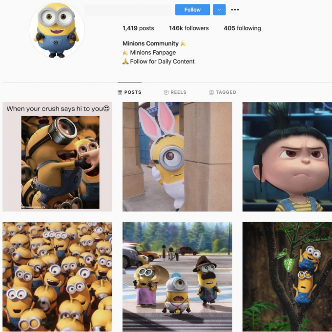 140K Minions Instagram Account for Sale