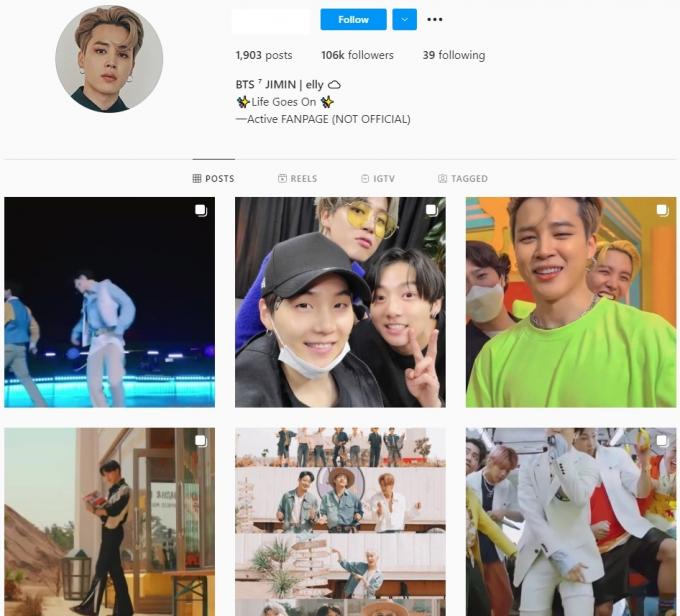 100K BTS Jimin Fan Instagram Account for Sale