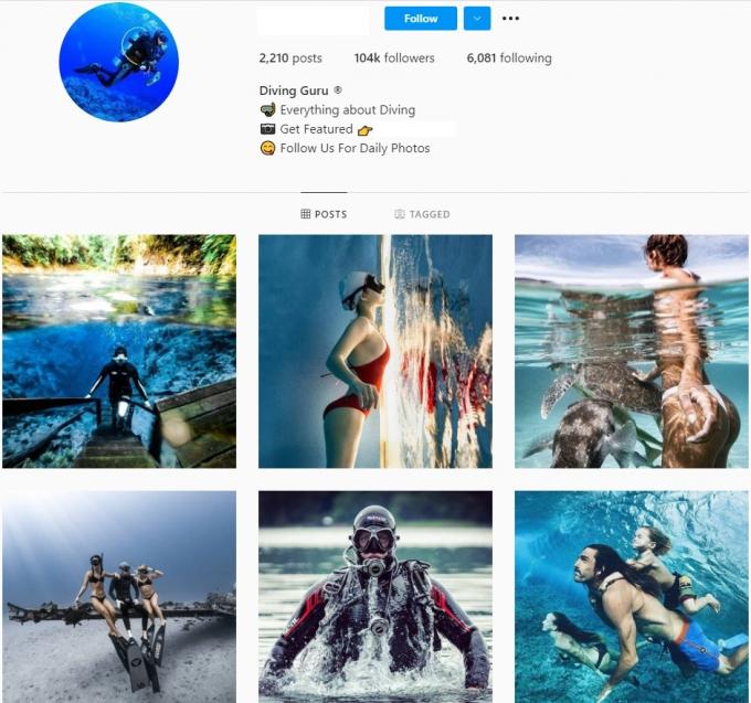 100K Diving Instagram Account for Sale