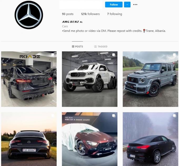 120K Mercedes-Benz AMG Instagram Account for Sale
