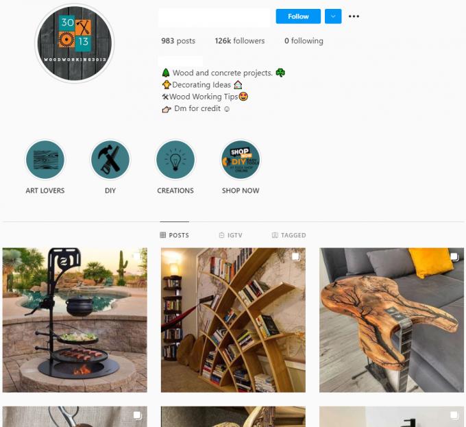 120K Woodworking Instagram Account for Sale