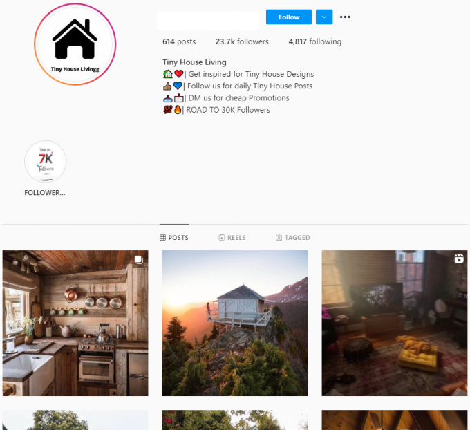 20K Tiny House Architecture Instagram Account for Sale