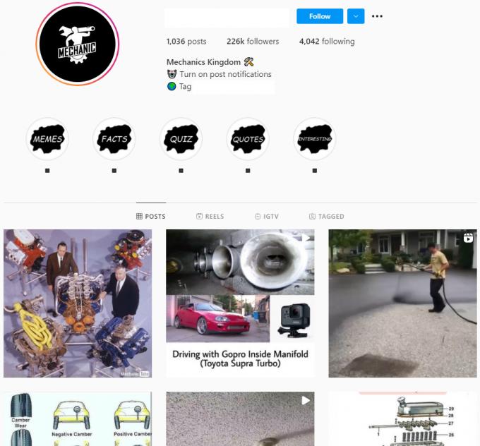 220K Mechanics Instagram Account for Sale