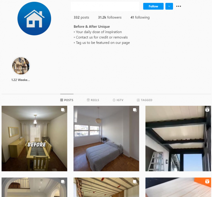 30K House Renovations Instagram Account for Sale