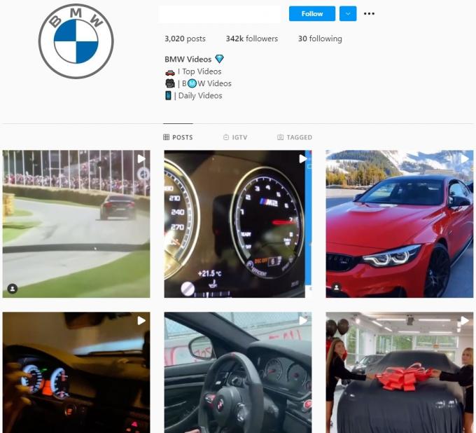 340K BMW Car Instagram Account for Sale