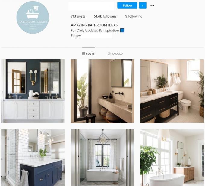 50K Bathroom interior Instagram Account for Sale