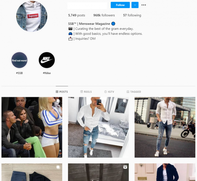 960K Men's Fashion Streetwear Instagram Account for Sale