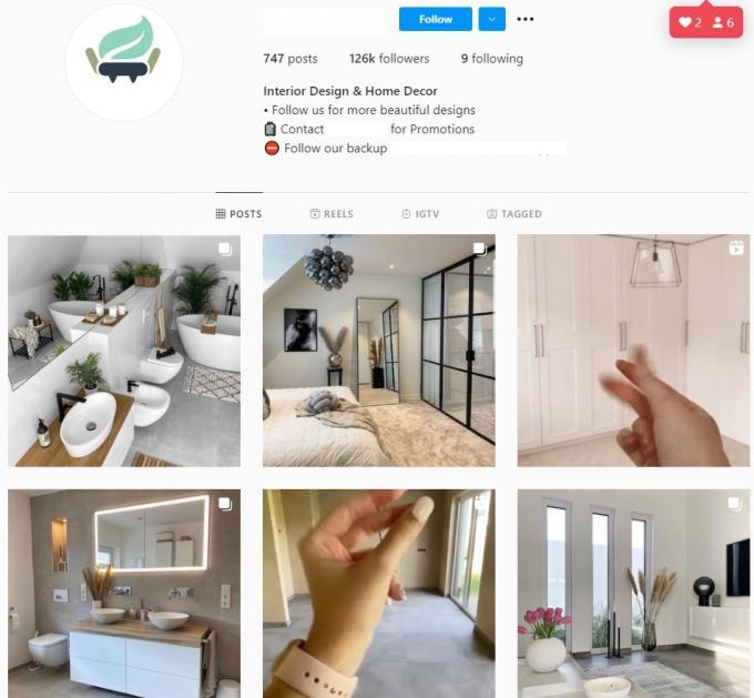 120K Interior Design Home Decor Instagram Account for Sale
