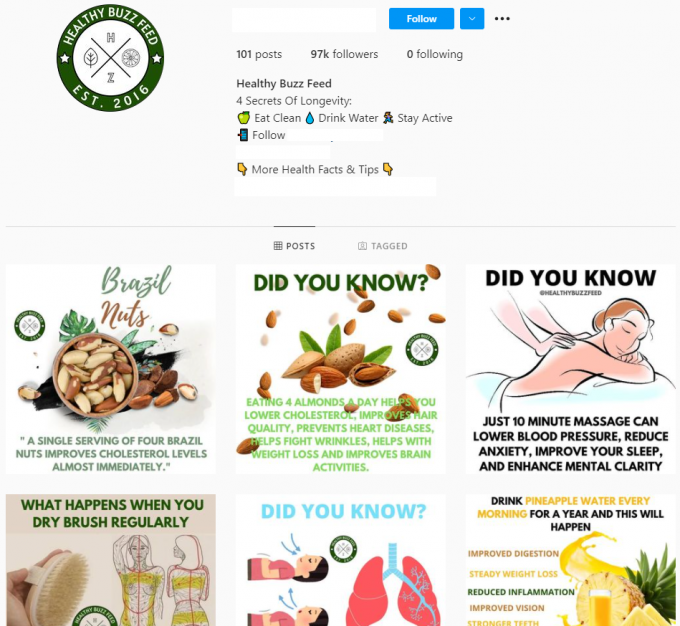 97K Healthy Lifestyle Instagram Account for Sale