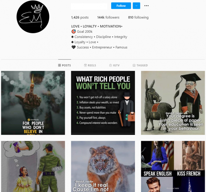 Buy Motivational Quotes Instagram Account with 140K Followers